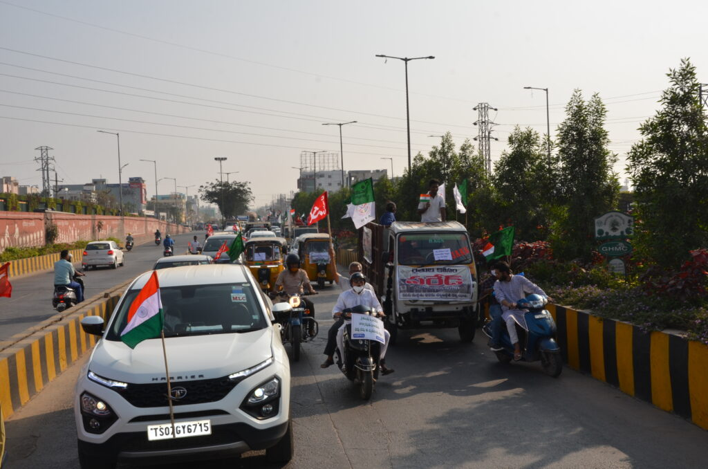 Hyderabad: Farmers mark Republic Day with vehicle rally against farm laws