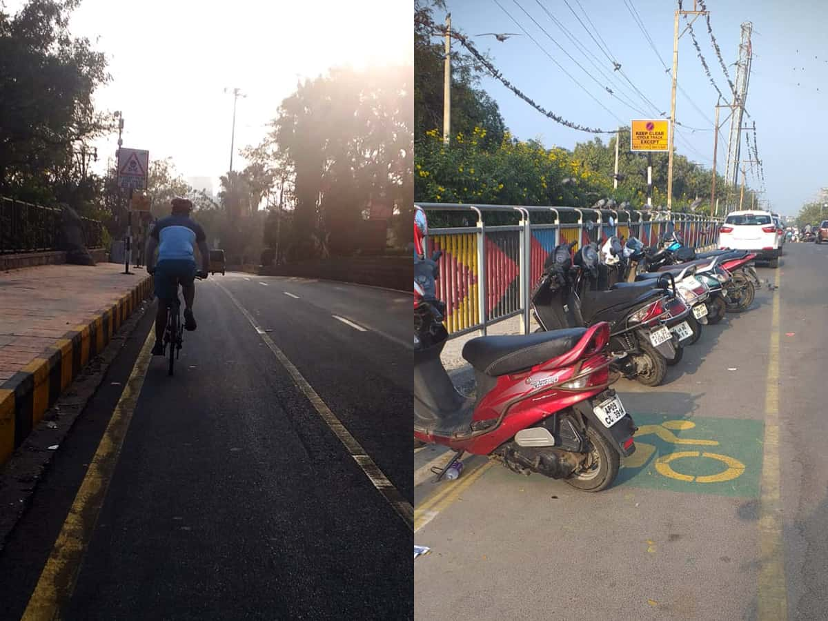 Cyclists suffer as tracks occupied by cars, bikes in KBR Park
