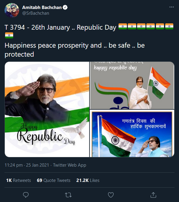Big B introduces 'new acquisition' on Republic Day, extends greetings