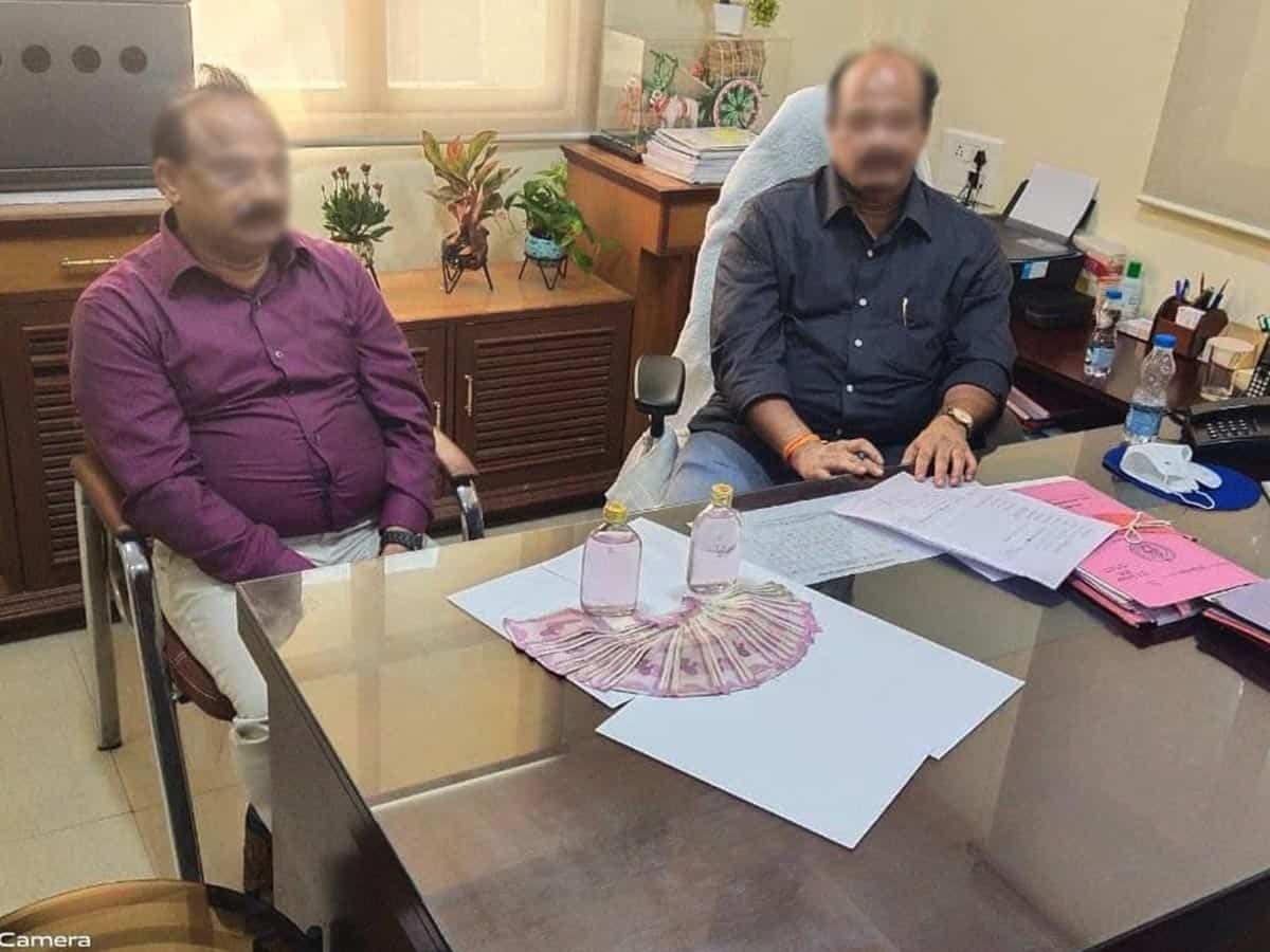 Two officials of Telangana warehousing corporation caught taking bribe, arrested