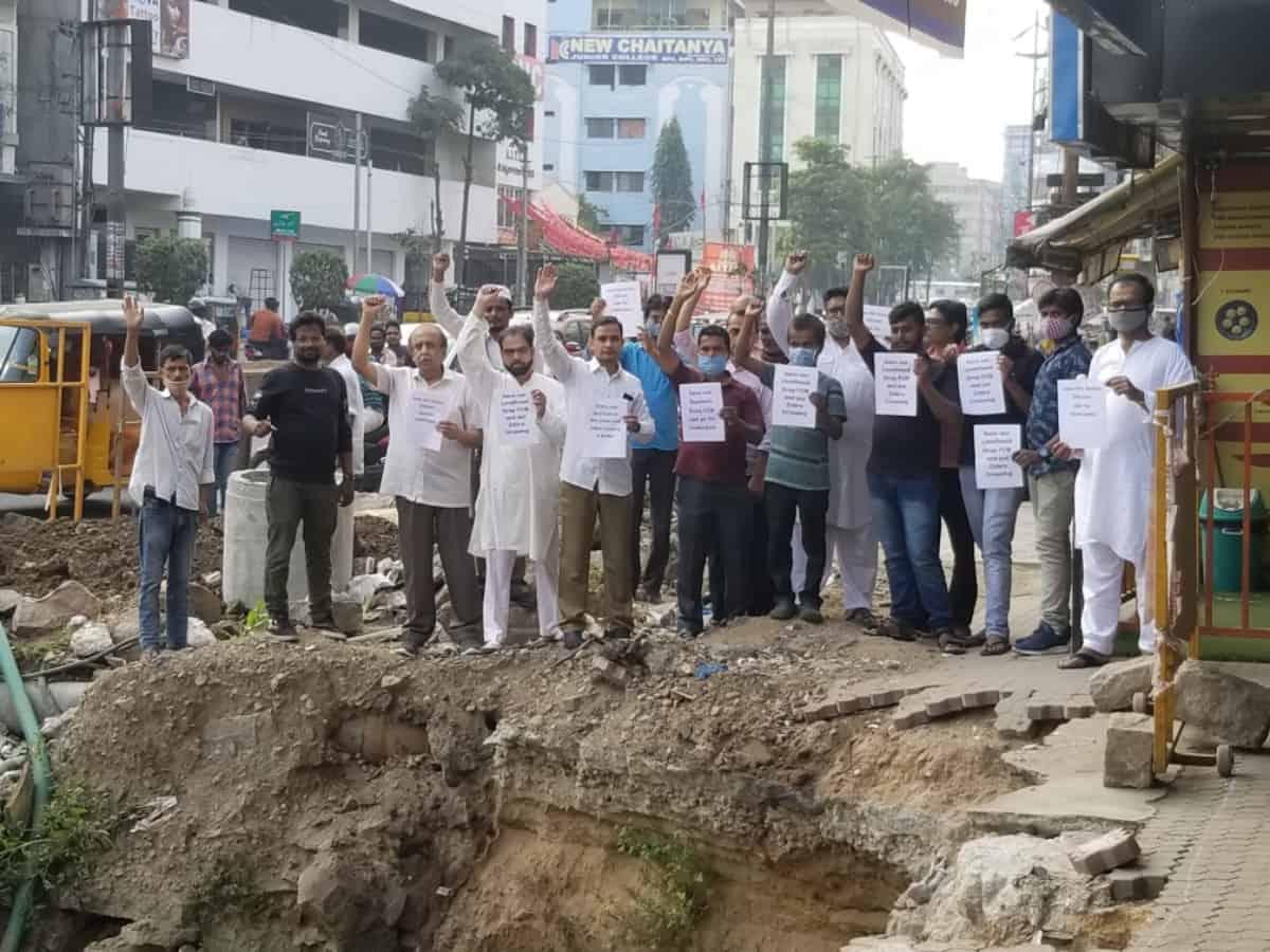 Hyderabad: Locals protest against Foot over Bridge at Naryanguda