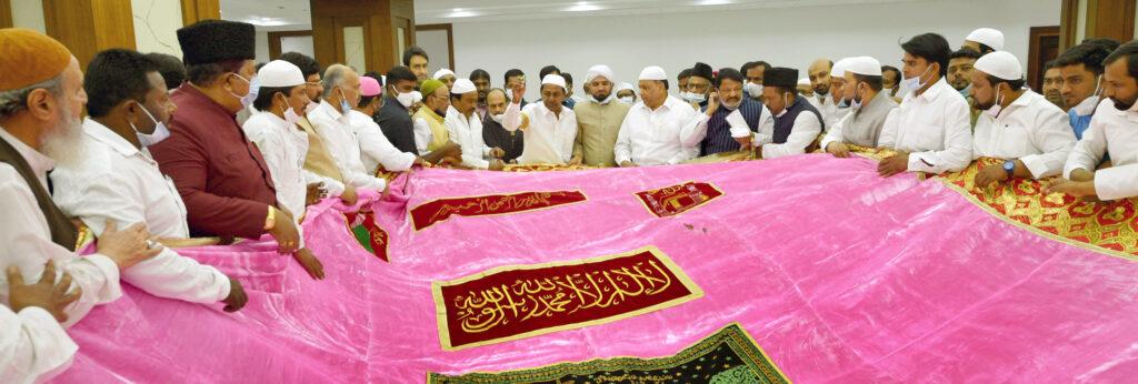 Telangana CM KCR sees off chader to be presented at Ajmer Dargah
