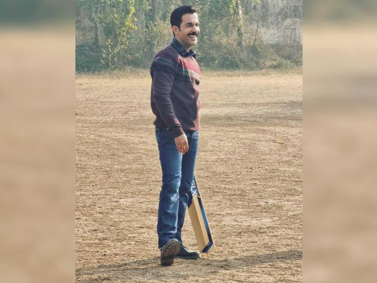Rajkummar Rao enjoys a game of cricket on sets of 'Badhaai Do'