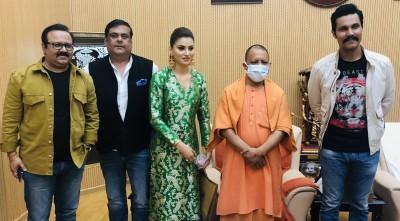 Randeep Hooda, Urvashi Rautela meet Uttar Pradesh CM Yogi Adityanath