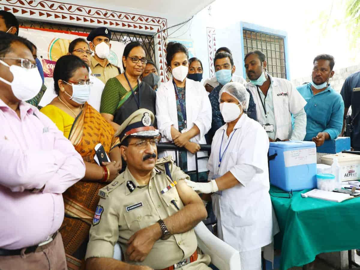 Telangana DGP takes Covid 19 vaccine shot
