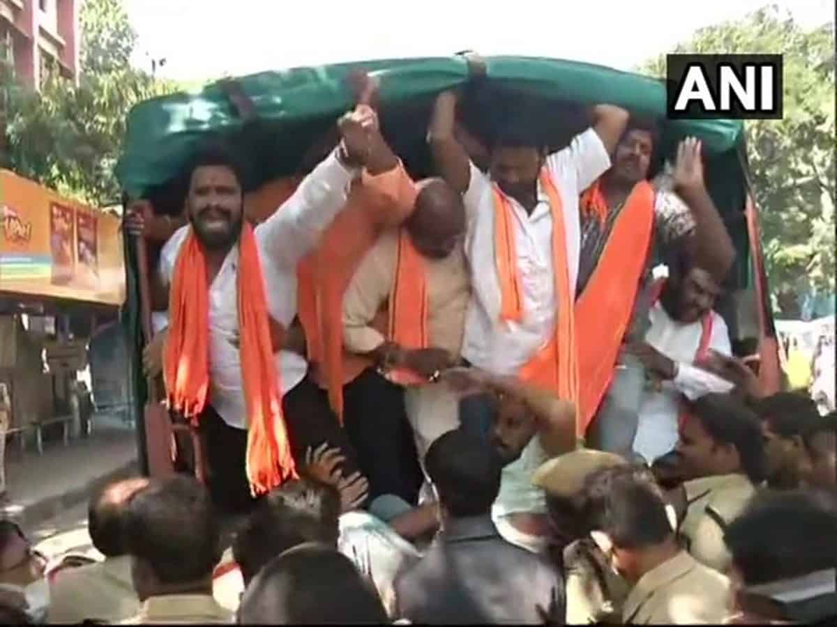 Hyderabad: BJYM leaders detained after protest against fee hike in colleges