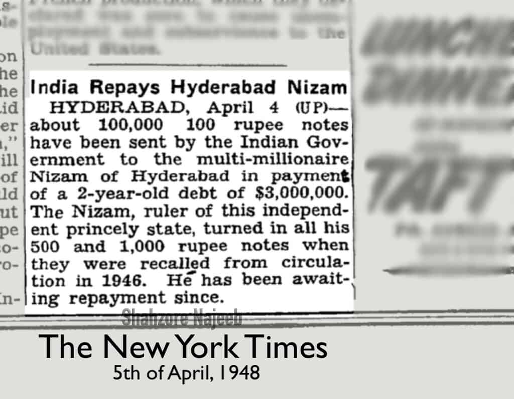 When British India carried out demonetisation in 1946, Seventh Nizam had $ 3 million worth notes
