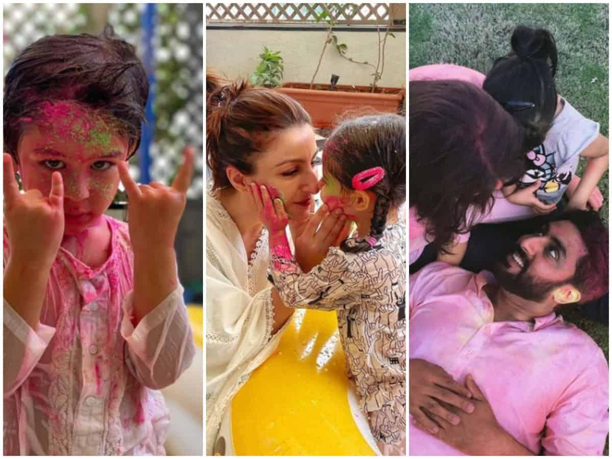 Bollywood's Holi Album: Taimur, Inaya, baby Samisha win the show
