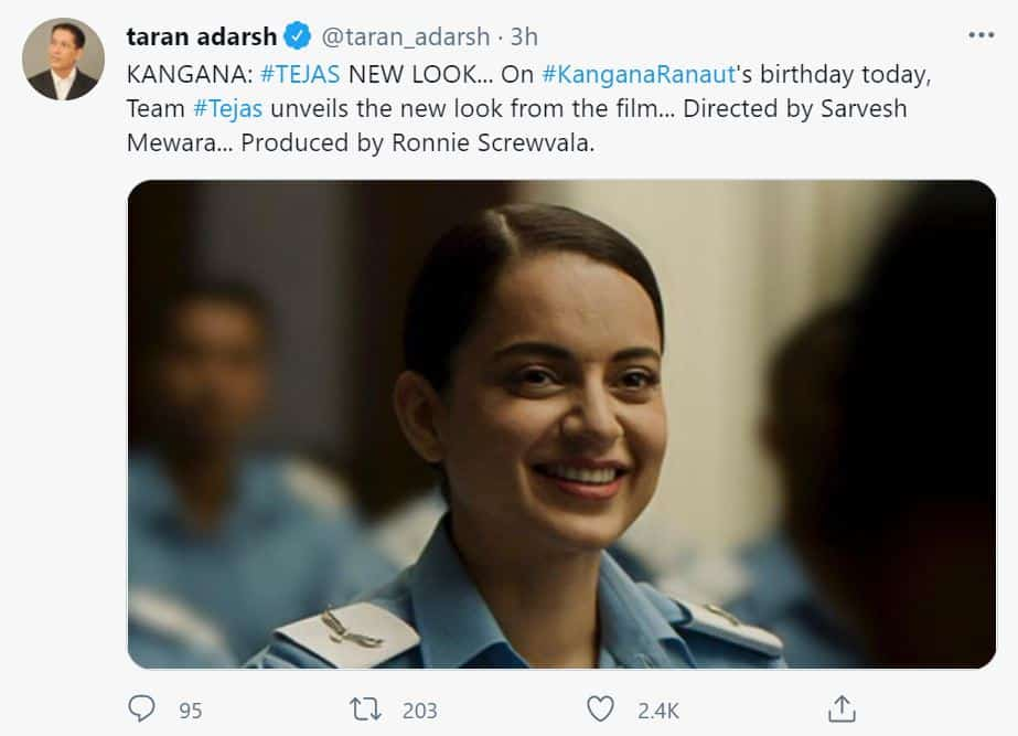 Kangana Ranaut's new look from 'Tejas' unveiled on her birthday