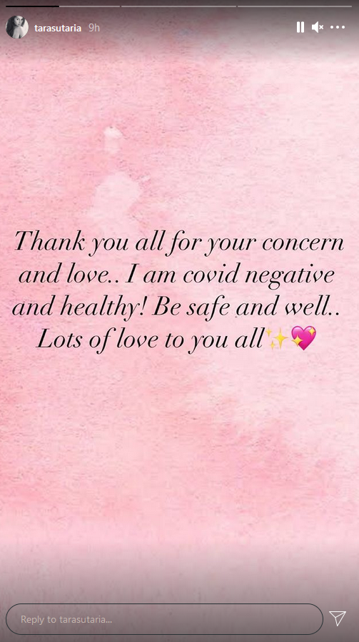 Tara Sutaria confirms testing negative for Covid-19, thanks fans for 'love and concern'