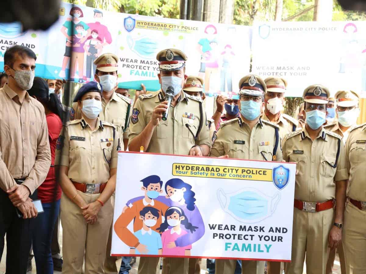 """Hyderabad police conduct """"Wear a mask"""" awareness programme"""