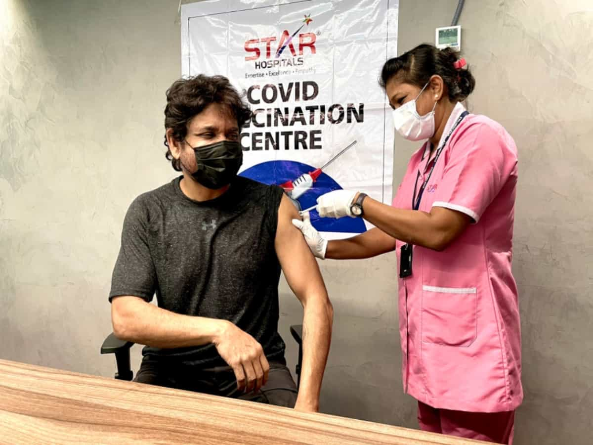 Nagarjuna receives first dose of COVID-19 vaccine in Hyderabad