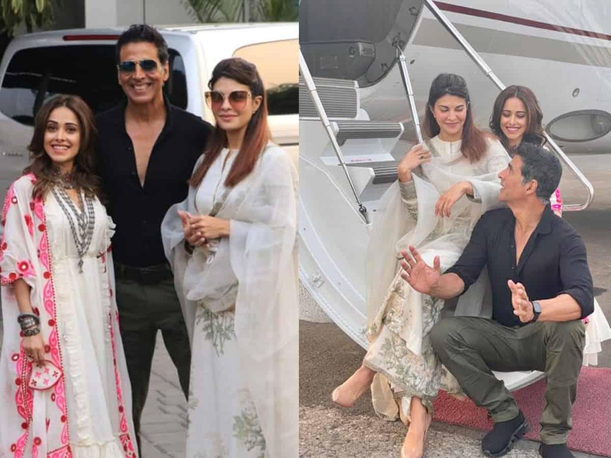 Nushrratt, Akshay, Jacqueline jet off to Ayodhya for Ram Setu puja, see pics