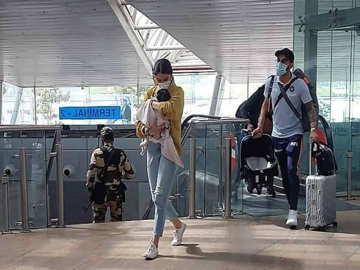 Viral video: Anushka, Virat get papped with daughter Vamika for first time