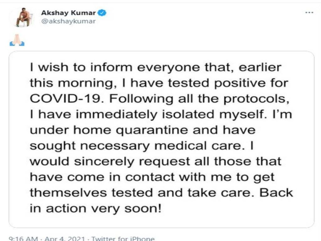 Akshay Kumar tests positive for COVID-19, says 'will be back in action very soon'