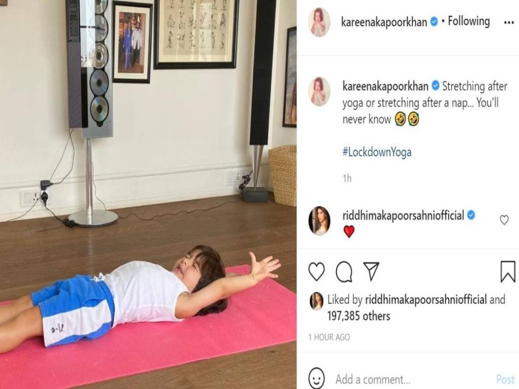 Is Taimur Ali Khan stretching after a nap or doing yoga? Kareena Kapoor can't decide!