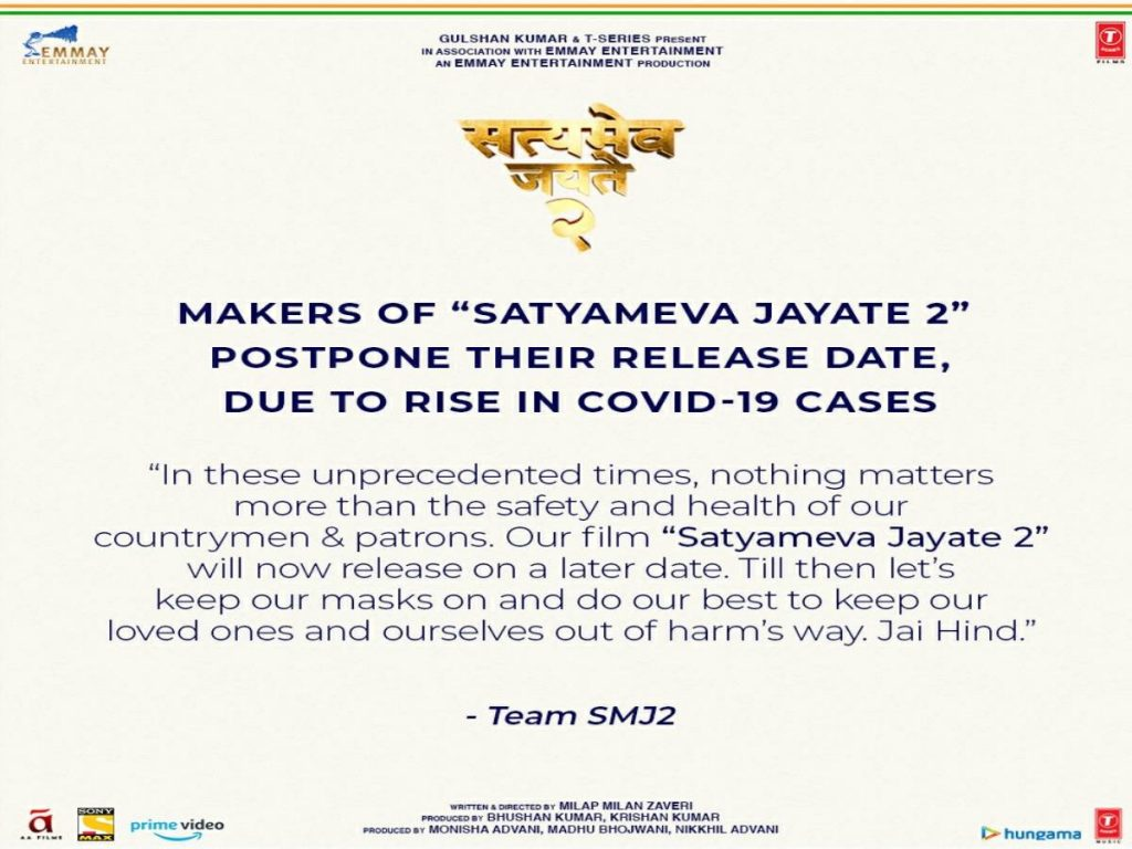 Release of John Abraham's 'Satyameva Jayate 2' postponed due to COVID-19 spike