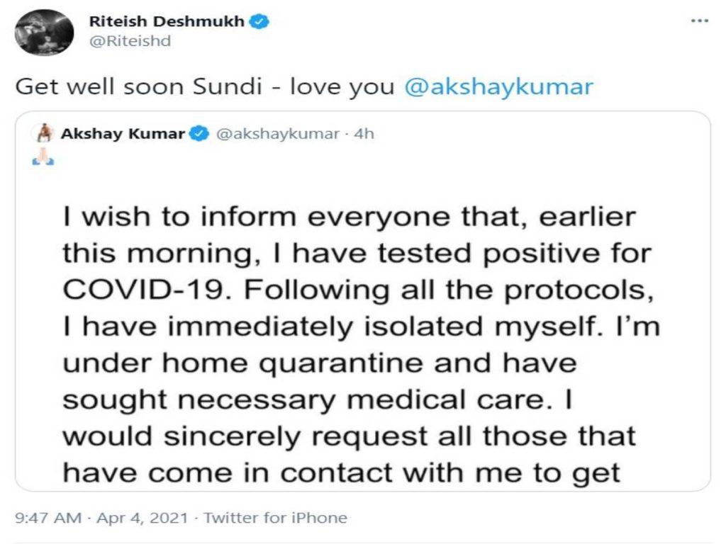 Riteish Deshmukh wishes Akshay Kumar speedy recovery from COVID-19