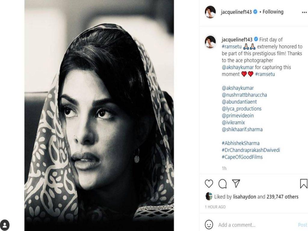 Jacqueline Fernandez begins shooting for 'Ram Setu', drops her first look on social media