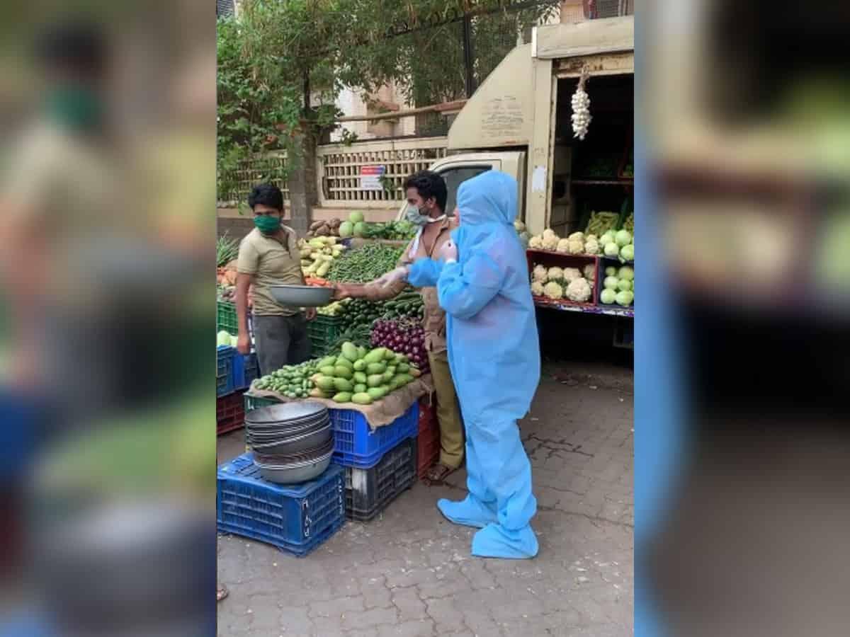 Rakhi Sawant seen vegetable shopping in PPE suit