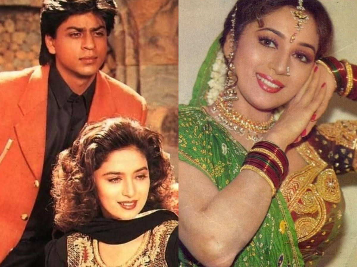Vintage pic featuring Madhuri Dixit, Shah Rukh Khan is unmissable!