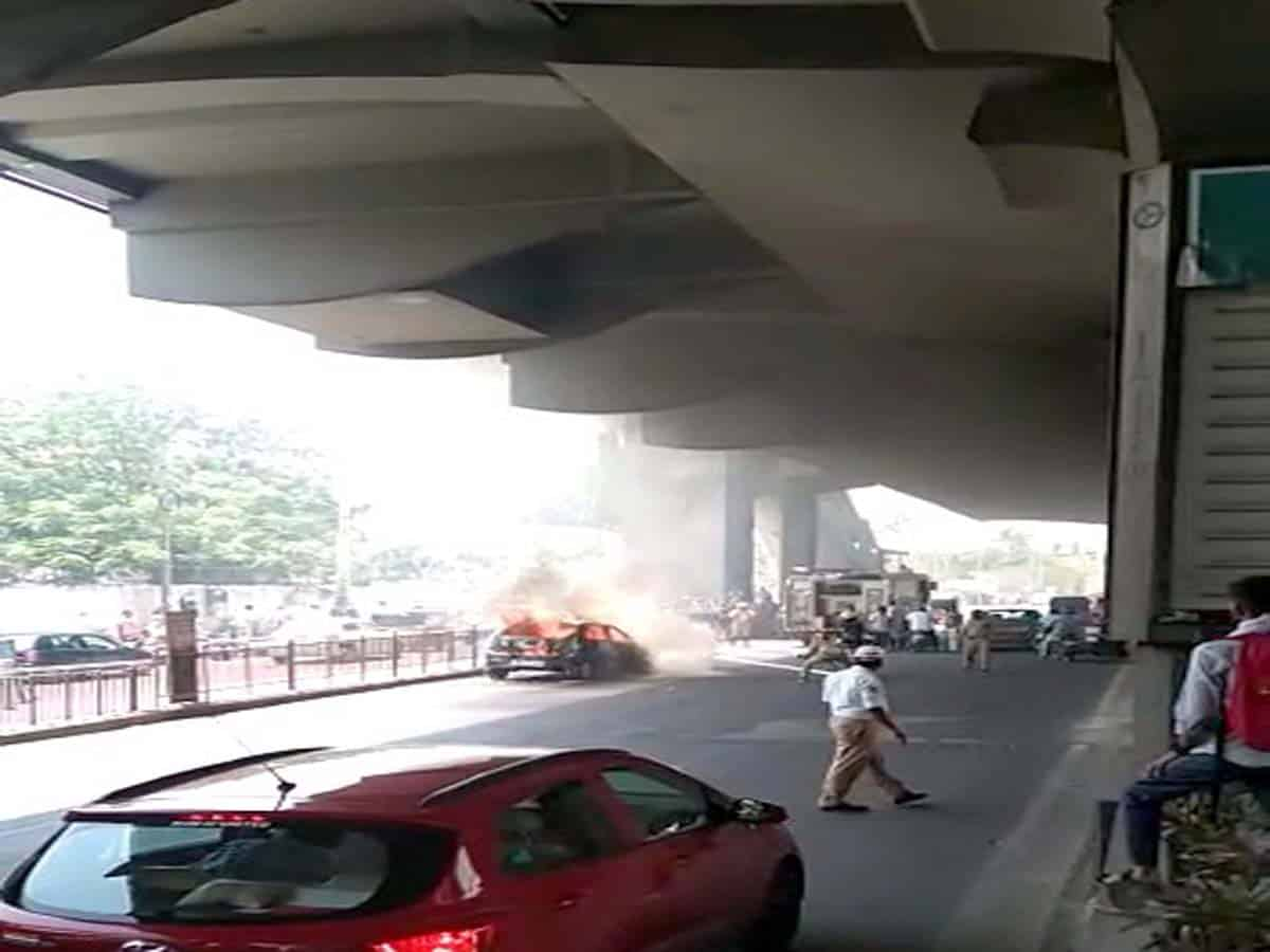 Sensation in Tarnaka after running Car catches fire