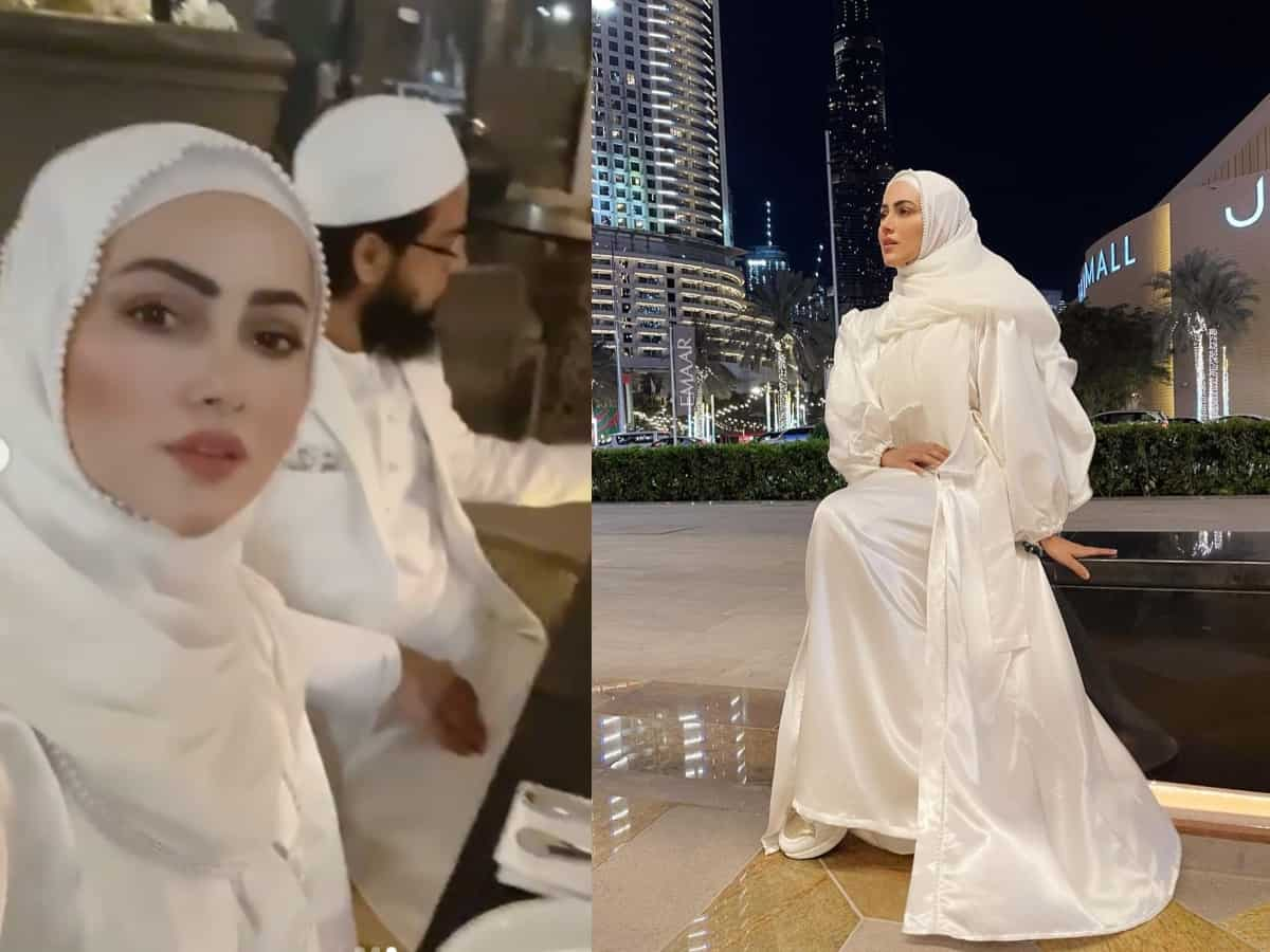 Sana Khan looks dreamy in white abaya; shares more pictures from her Dubai vacay with Mufti Anas