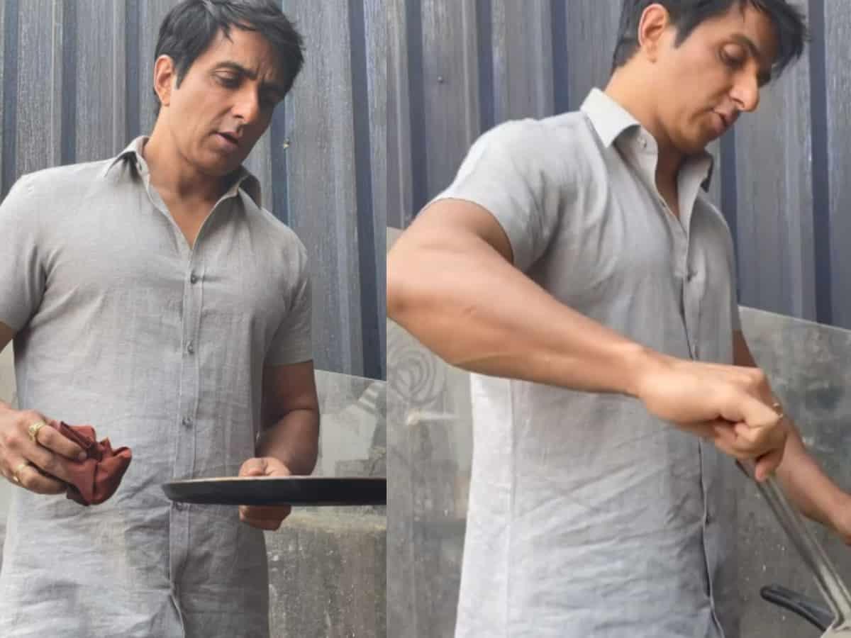 Viral video: Sonu Sood makes dosas on Acharya sets in Hyderabad