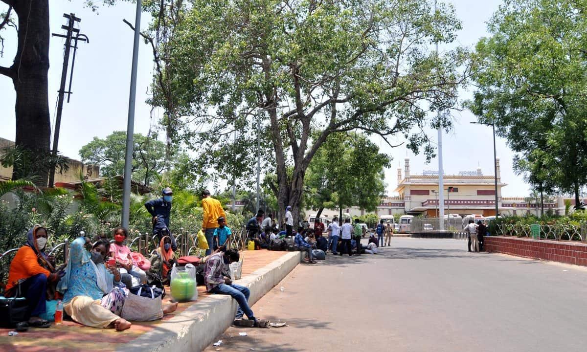 Inter-state passengers wait at Nampally railway station