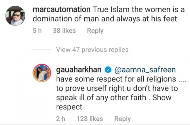 Gauahar Khan slams troll saying 'in Islam women are always at man's feet'