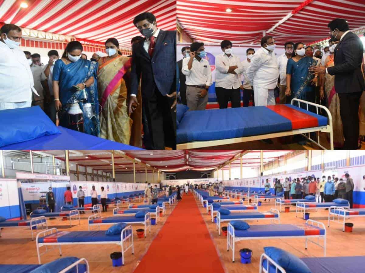 MLC Kavitha inaugurates 300-bed COVID isolation center at Calvary Temple