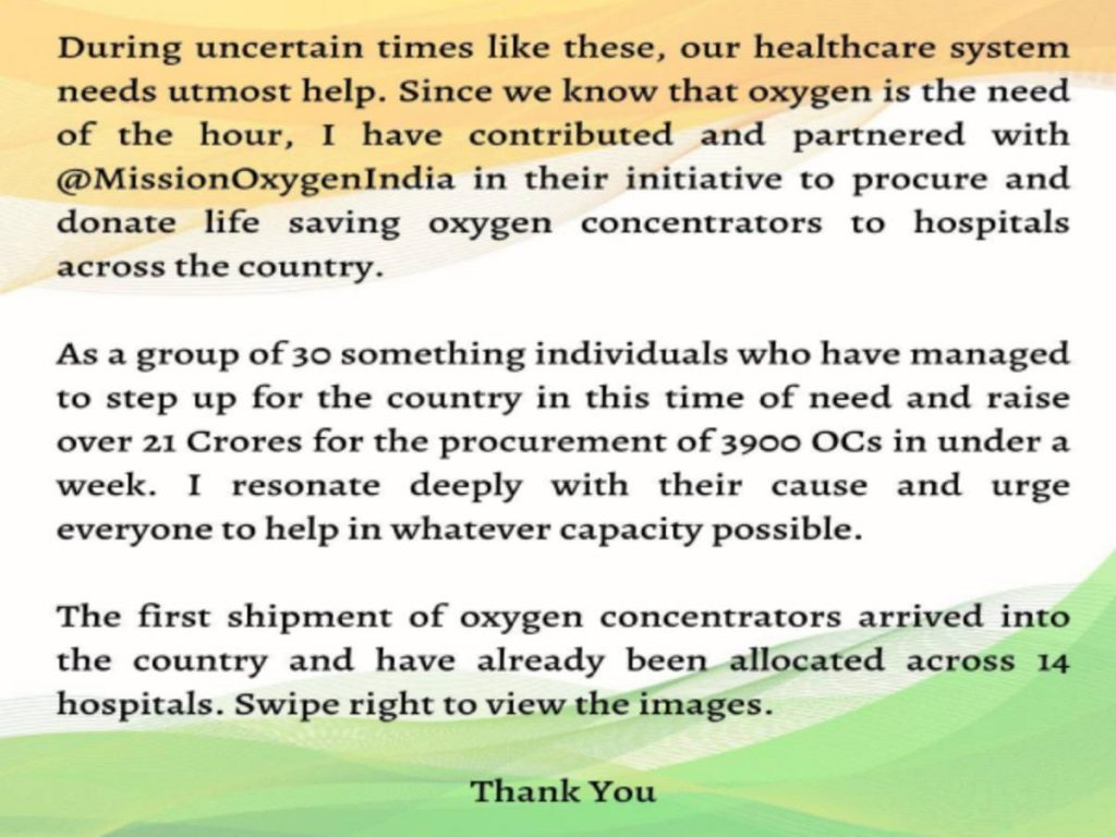 Varun Dhawan joins initiative to donate oxygen concentrators