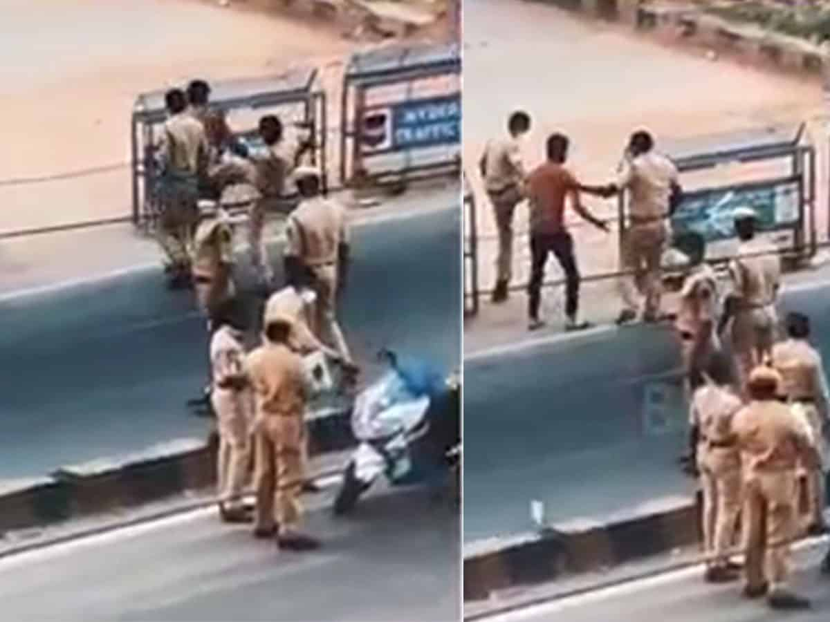 Video: Man thrashed by Hyderabad police, lodges complaint