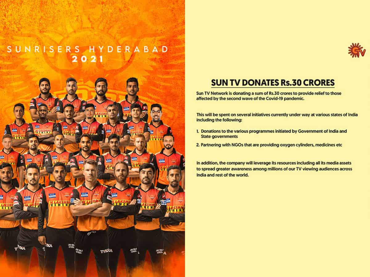 SRH donate Rs 30 crore to provide relief to those affected by 2nd wave of COVID-19