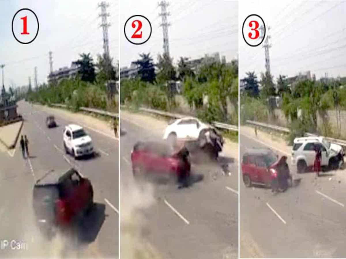 Hyderabad: Cars collision video creates sensation in social media