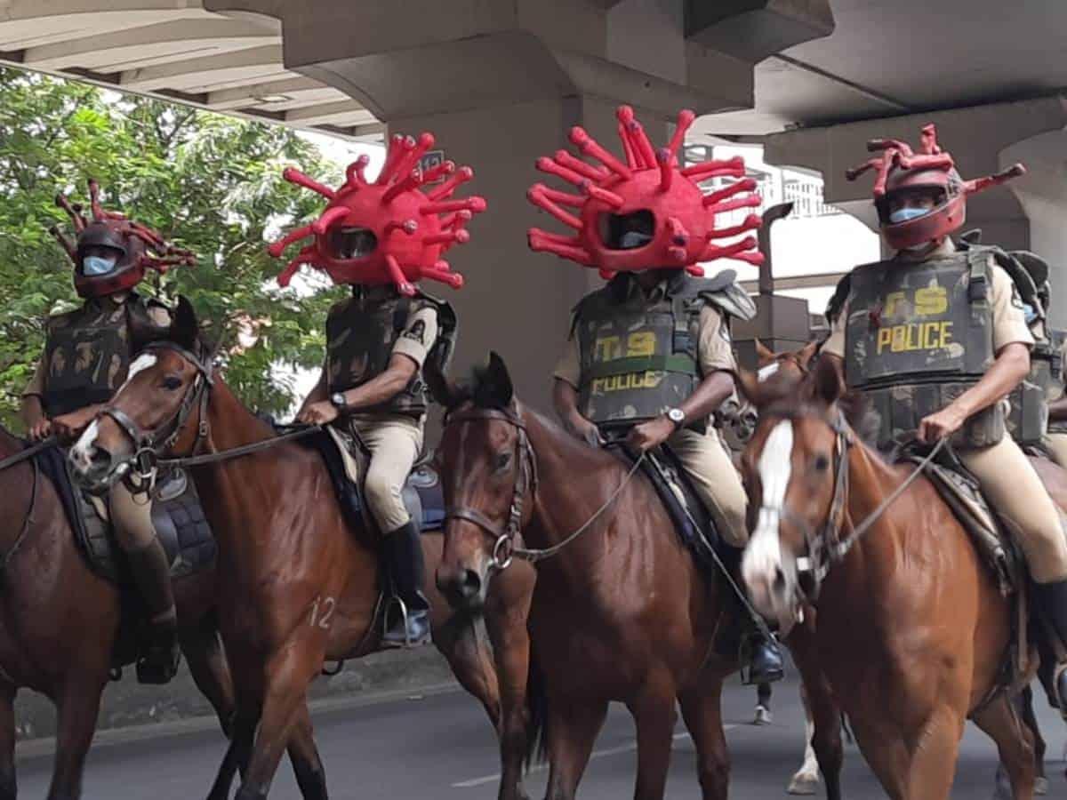 Police sport coronavirus inspired helmets to raise COVID-19 awareness in Hyderabad