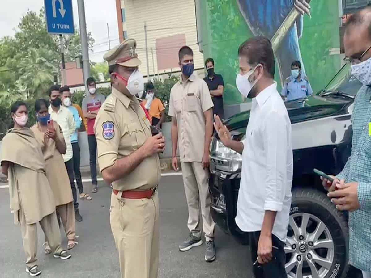Congress MP Revanth Reddy stopped by police