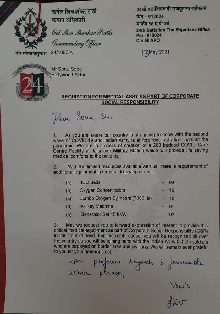 Army CO writes to Sonu Sood seeking COVID-19 resources