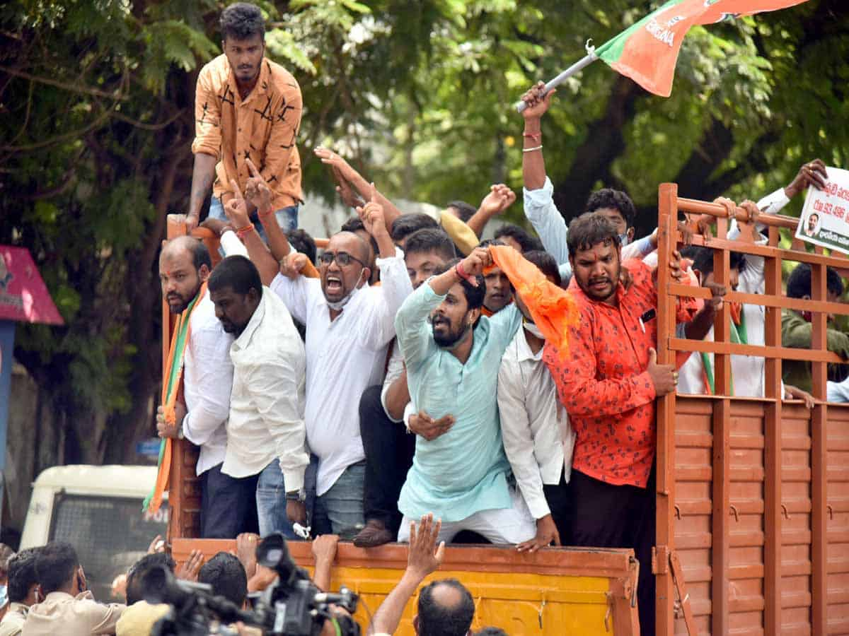 BJYM activists protest at TSPSC Office demanding filling of vacant posts