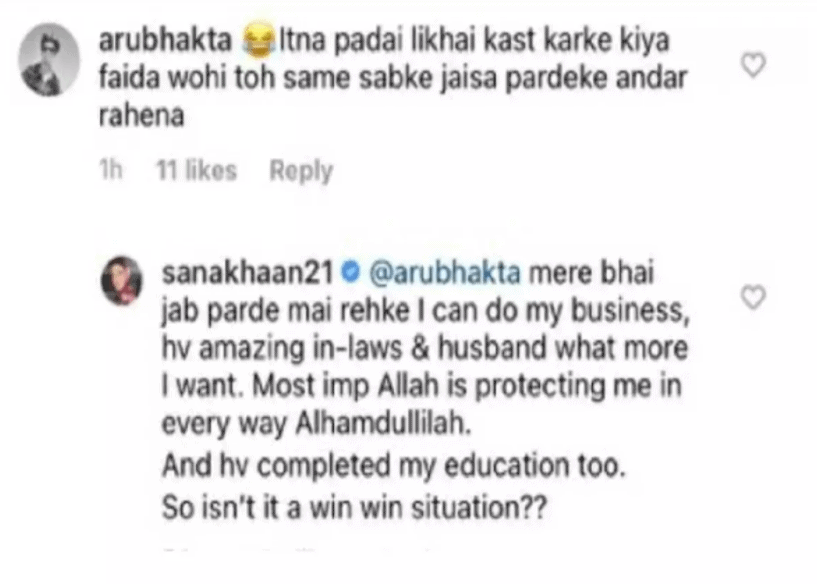 Sana Khan claps back at user who trolled her for wearing 'Hijab'