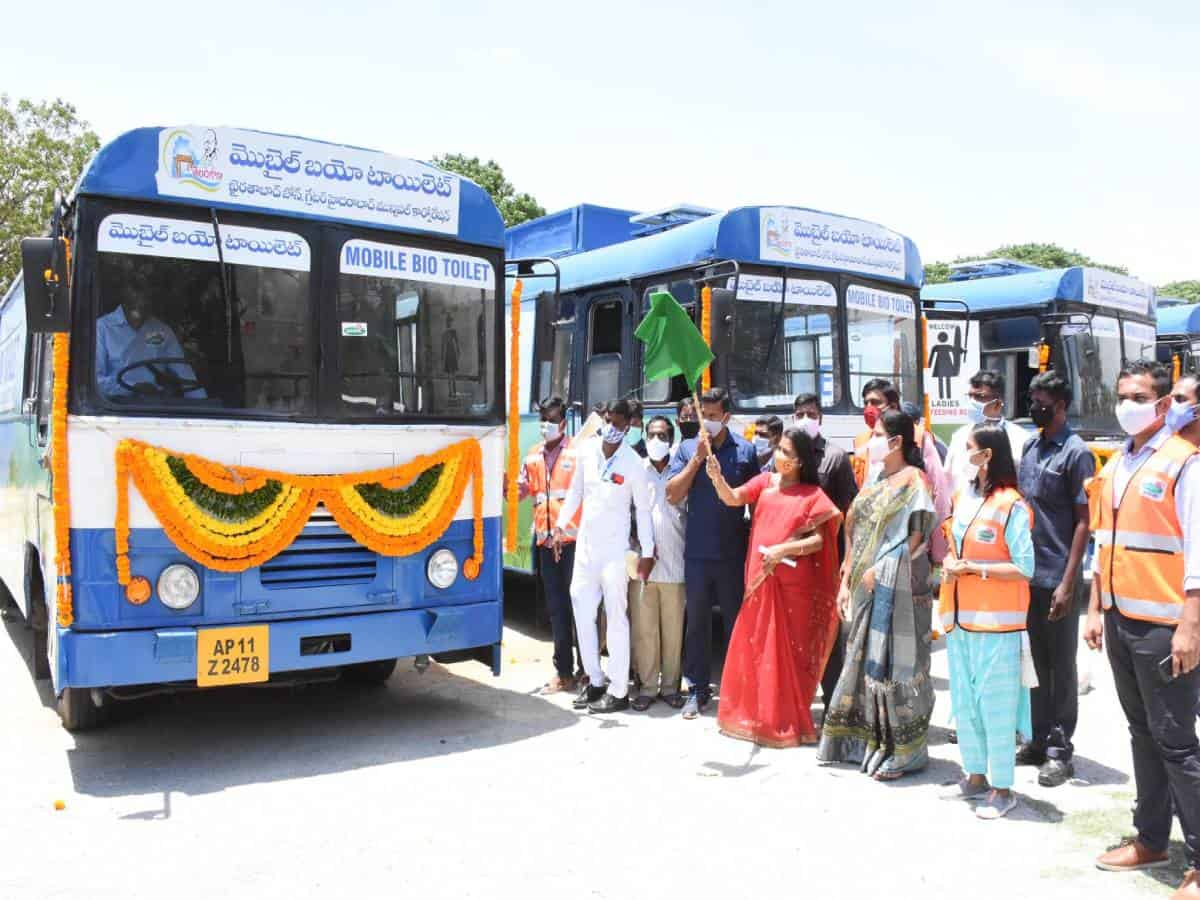 Hyderabad: Mayor inaugurates 5 mobile toilets made from unused RTC buses
