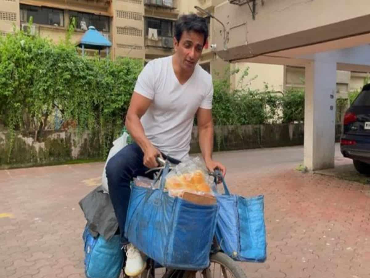 Sonu Sood sells eggs, bread on bicycle, video goes viral