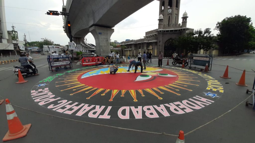 Hyderabad: Paintings on roads to create awareness on COVID-19