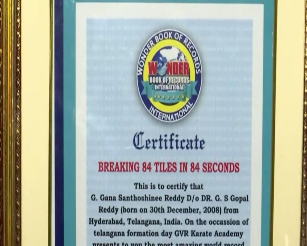Hyderabad: 13-year-old girl sets world record by breaking 84 ceramic tiles in 84 seconds