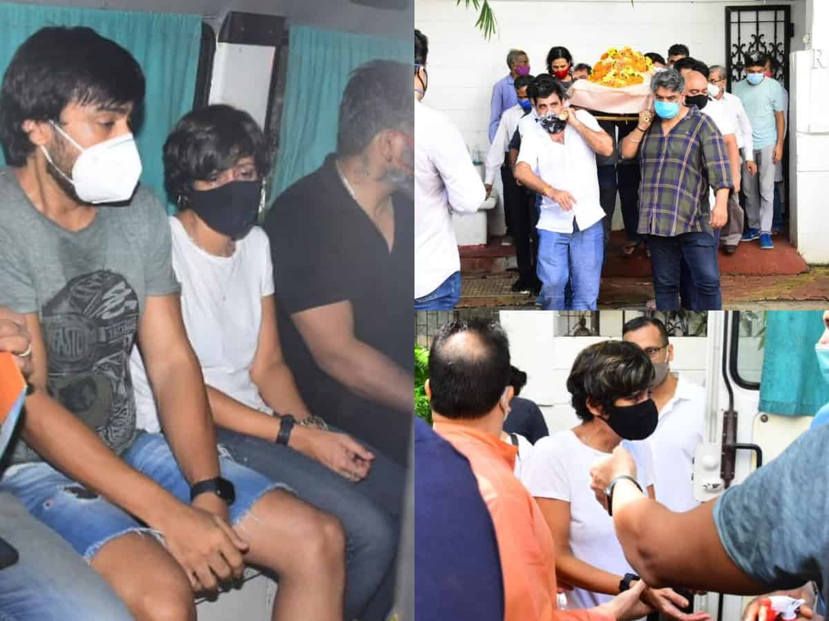 Pictures and videos from Mandira Bedi's husband Raj Kaushal's funeral