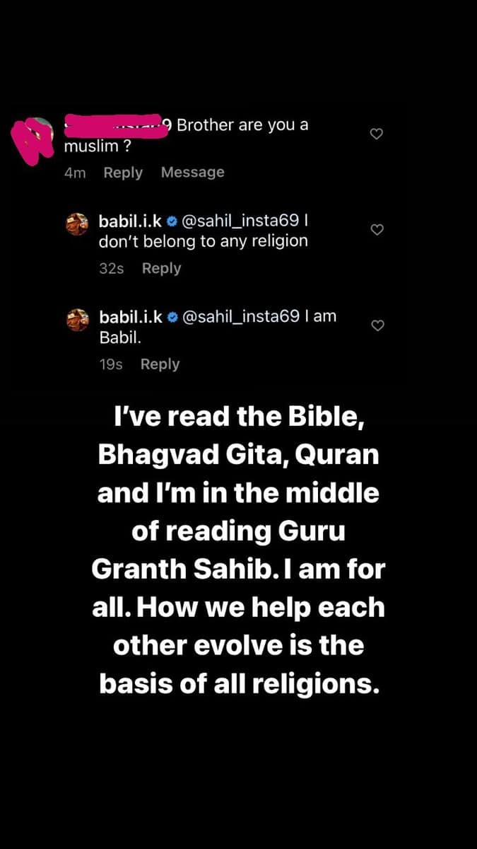 'I don't belong to any religion', Babil replies to fan who asked if he is Muslim