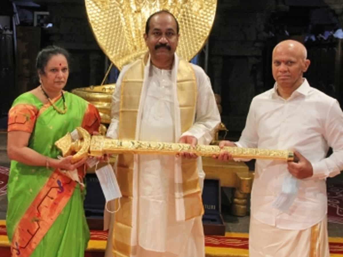 Hyderabad bizman donates Rs 1 cr gold sword to Tirupati deity