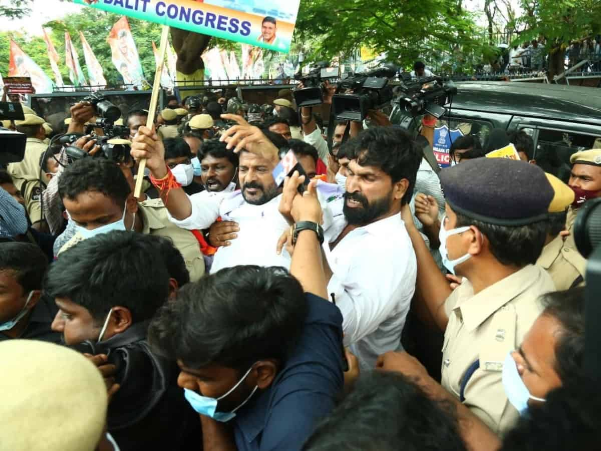 Telangana Cong chief Revanth Reddy arrested; party's fuel hike protest foiled