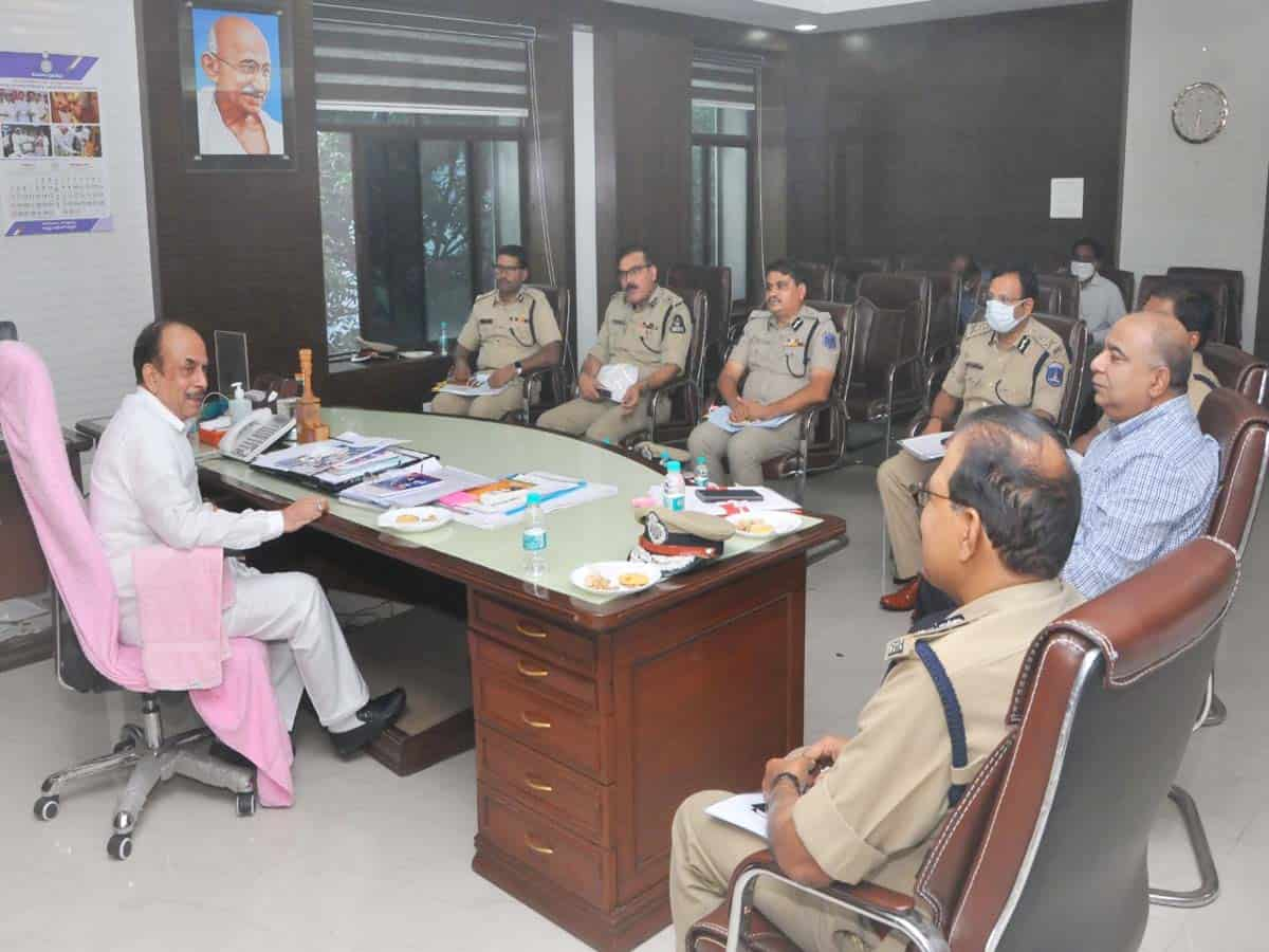 Ahead of festivities Mahmood Ali holds review with police officials