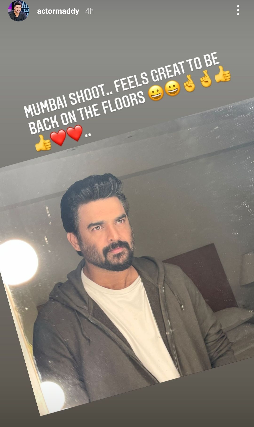R Madhavan happy to be back on sets